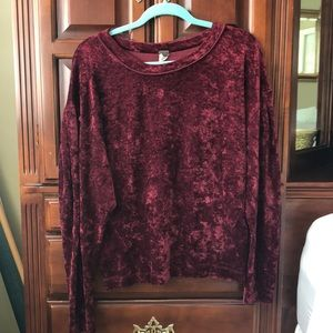 We The Free Free People Crushed Velvet Crewneck